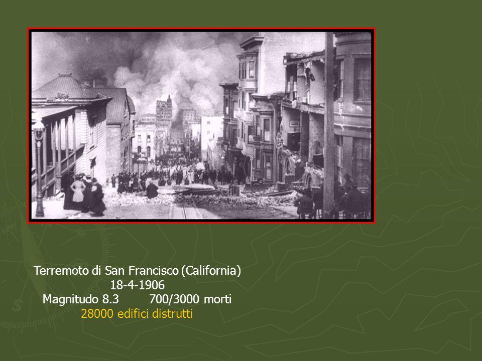 Terremoto di San Francisco (California) 18-4-1906 Magnitudo 8.3 700/3000 morti 28000 edifici distrutti