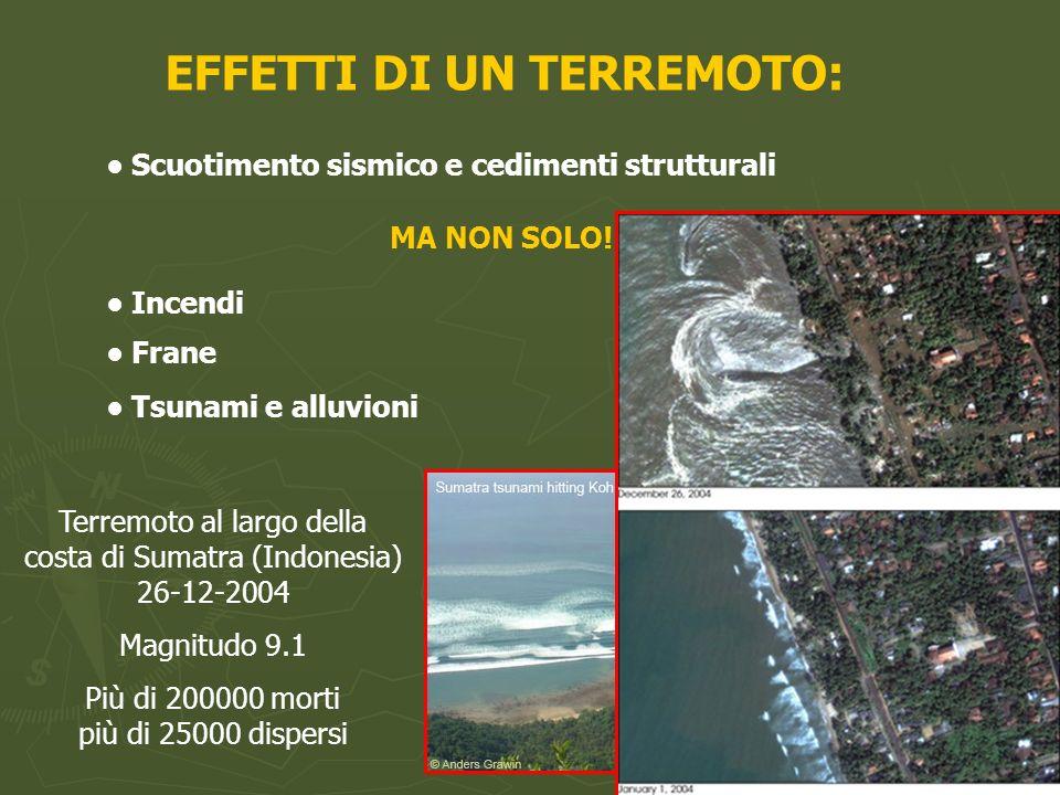 EFFETTI DI UN TERREMOTO: Scuotimento sismico e cedimenti strutturali MA NON SOLO! Incendi Frane Tsunami e alluvioni Terremoto al largo della costa di