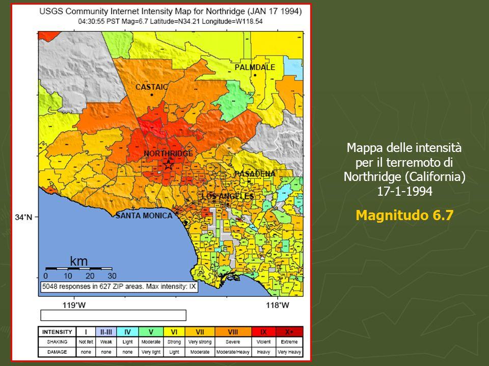 Mappa delle intensità per il terremoto di Northridge (California) 17-1-1994 Magnitudo 6.7