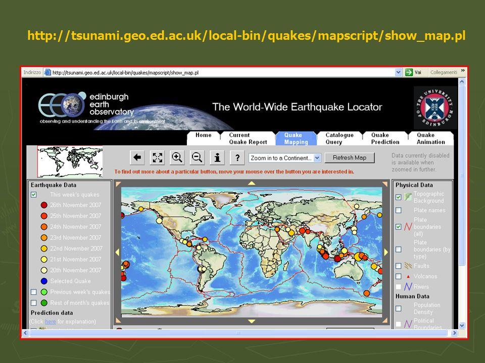 DOVE, QUANDO, MAGNITUDO Previsioni a lungo termine: basate sugli eventi sismici passati Previsioni a lungo termine: basate sugli eventi sismici passati AIUTANO A PREVEDERE IL LUOGO IN CUI POTREBBE AVVENIRE UN TERREMOTO E LA SUA PROBABILE INTENSITA Previsioni a breve termine: basate su eventi precursori (scosse premonitrici, emissioni di gas radon, cambiamenti della resistività elettrica delle rocce, onde radio anomale, comportamento degli animali) Previsioni a breve termine: basate su eventi precursori (scosse premonitrici, emissioni di gas radon, cambiamenti della resistività elettrica delle rocce, onde radio anomale, comportamento degli animali) DOVREBBERO AIUTARE A CAPIRE IL QUANDO MA SONO MOLTO INATTENDIBILI MA SONO MOLTO INATTENDIBILI E però possibile definire la pericolosità sismica di unarea (intensità massima e frequenza dei terremoti che possiamo attenderci) NON E POSSIBILE PREVEDERE UN TERREMOTO !