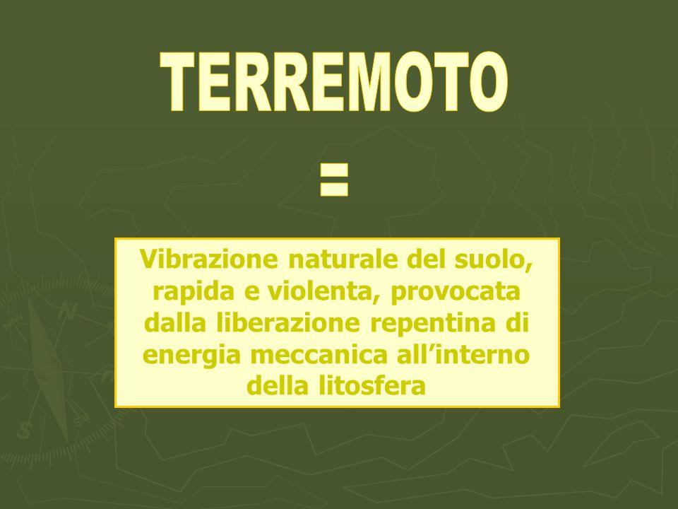 Vibrazione naturale del suolo, rapida e violenta, provocata dalla liberazione repentina di energia meccanica allinterno della litosfera