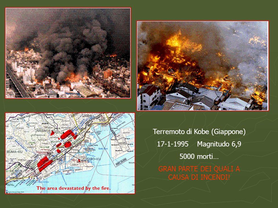 Terremoto di Kobe (Giappone) 17-1-1995 Magnitudo 6,9 5000 morti… GRAN PARTE DEI QUALI A CAUSA DI INCENDI!