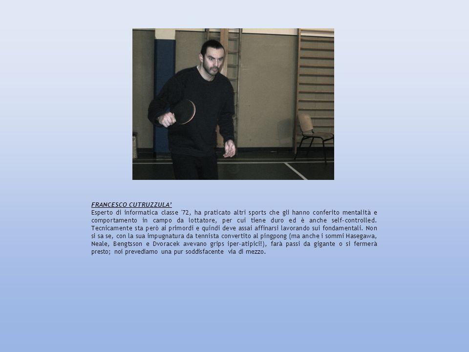 FRANCESCO CUTRUZZULA Esperto di informatica classe '72, ha praticato altri sports che gli hanno conferito mentalità e comportamento in campo da lottat