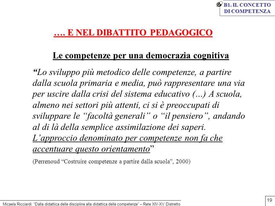 Micaela Ricciardi: Dalla didattica delle discipline alla didattica delle competenze – Rete XIV-XV Distretto 19 …. E NEL DIBATTITO PEDAGOGICO Le compet