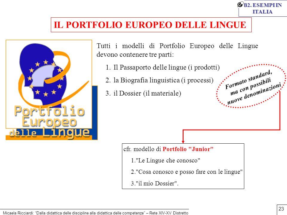 Micaela Ricciardi: Dalla didattica delle discipline alla didattica delle competenze – Rete XIV-XV Distretto 23 B2. ESEMPI IN ITALIA Tutti i modelli di