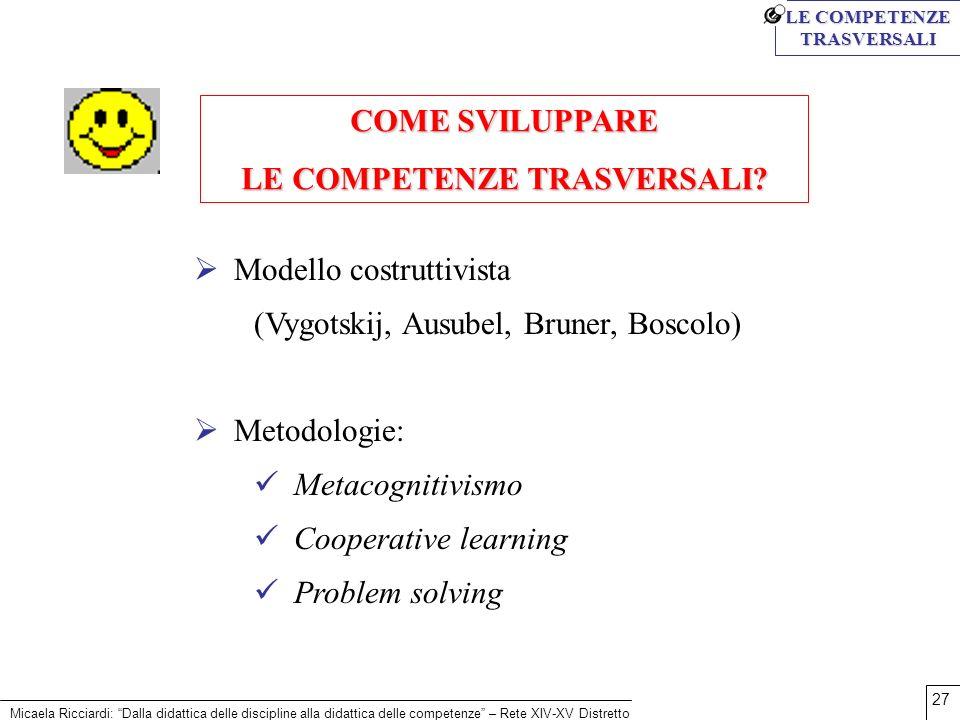 Micaela Ricciardi: Dalla didattica delle discipline alla didattica delle competenze – Rete XIV-XV Distretto 27 Modello costruttivista (Vygotskij, Ausu