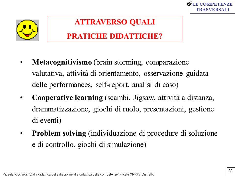 Micaela Ricciardi: Dalla didattica delle discipline alla didattica delle competenze – Rete XIV-XV Distretto 28 ATTRAVERSO QUALI PRATICHE DIDATTICHE? M