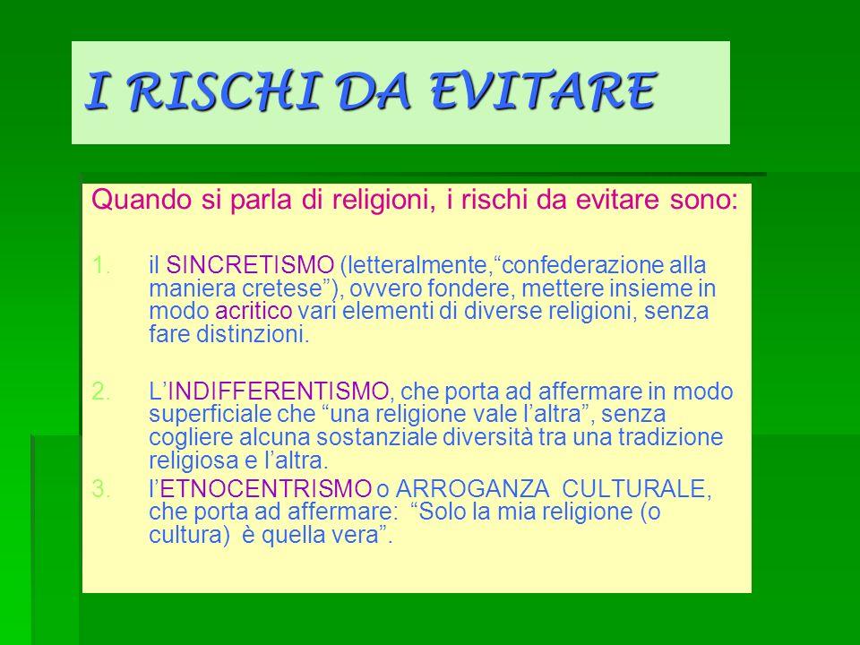 I RISCHI DA EVITARE Quando si parla di religioni, i rischi da evitare sono: 1. 1.il SINCRETISMO (letteralmente,confederazione alla maniera cretese), o
