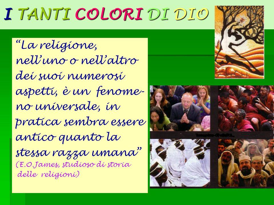 I TANTI COLORI DI DIO La religione, nelluno o nellaltro dei suoi numerosi aspetti, è un fenome- no universale, in pratica sembra essere antico quanto
