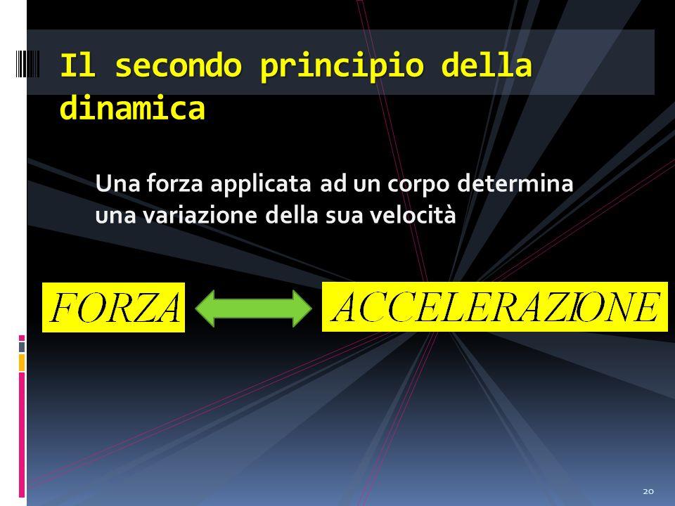 Una forza applicata ad un corpo determina una variazione della sua velocità 20 Il secondo principio della dinamica
