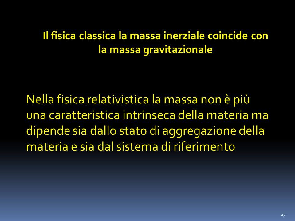 27 Il fisica classica la massa inerziale coincide con la massa gravitazionale Nella fisica relativistica la massa non è più una caratteristica intrins