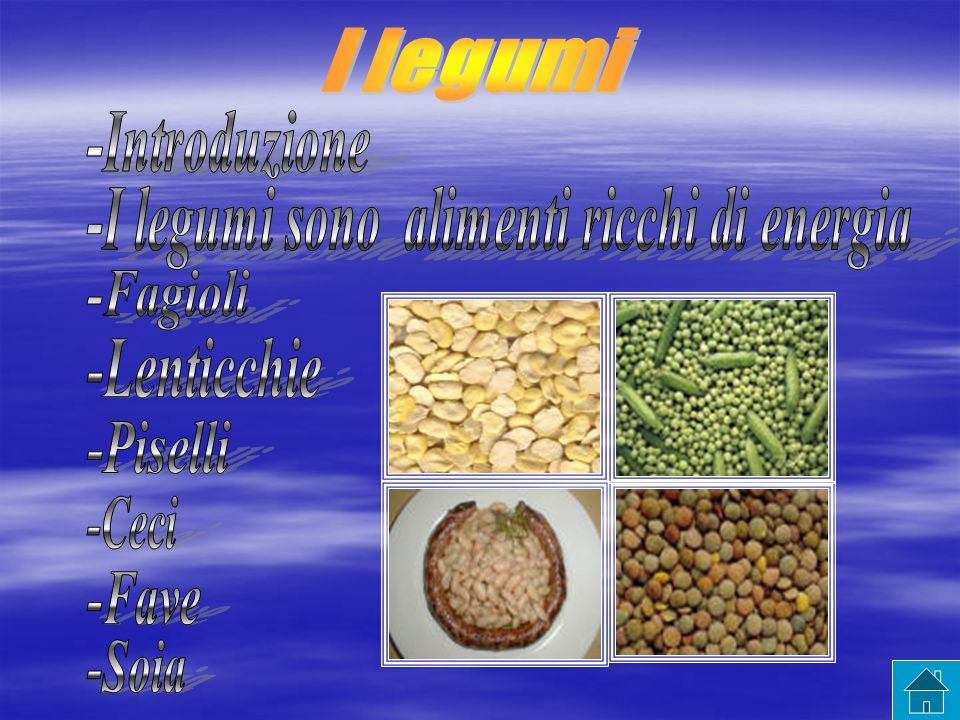 COSA SONO I LEGUMI I legumi sono semi commestibili delle piante della Famiglie delle Leguminose.