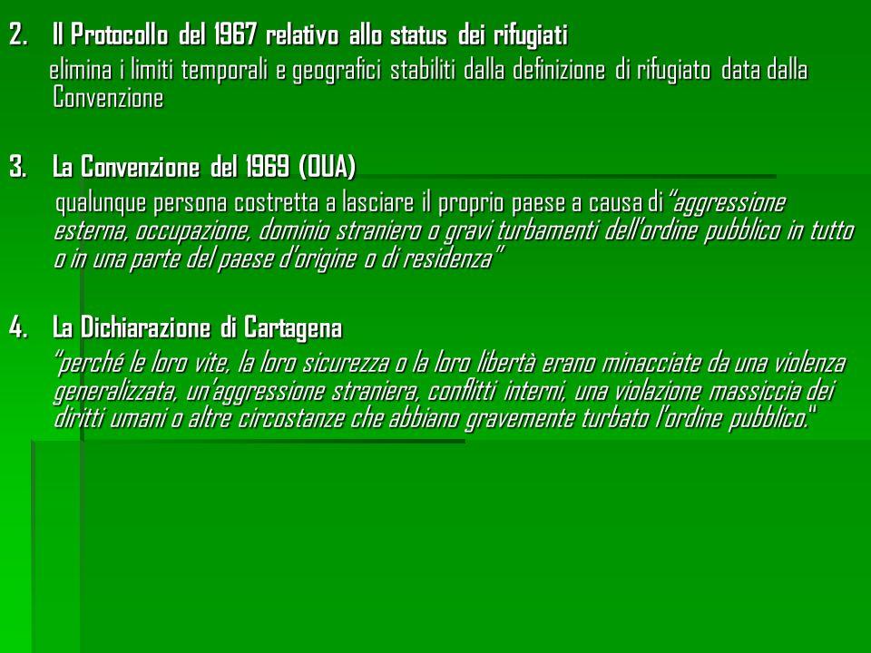 2.Il Protocollo del 1967 relativo allo status dei rifugiati elimina i limiti temporali e geografici stabiliti dalla definizione di rifugiato data dall