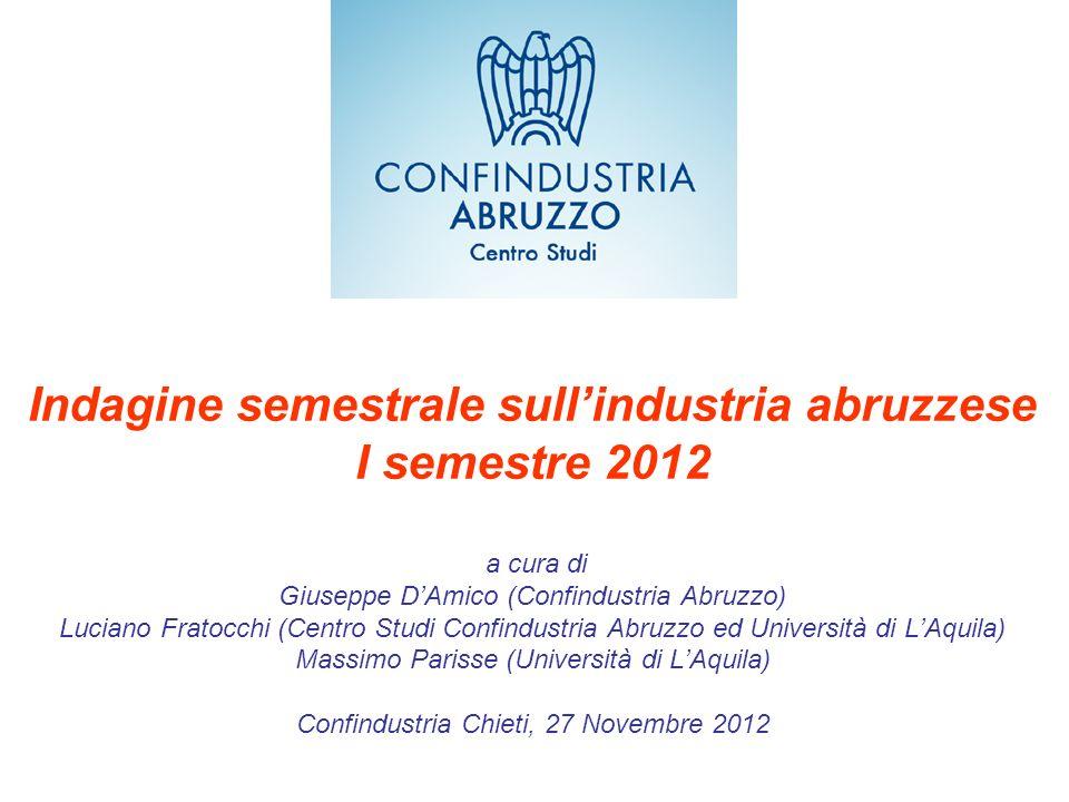 Indagine semestrale sullindustria abruzzese I semestre 2012 a cura di Giuseppe DAmico (Confindustria Abruzzo) Luciano Fratocchi (Centro Studi Confindu
