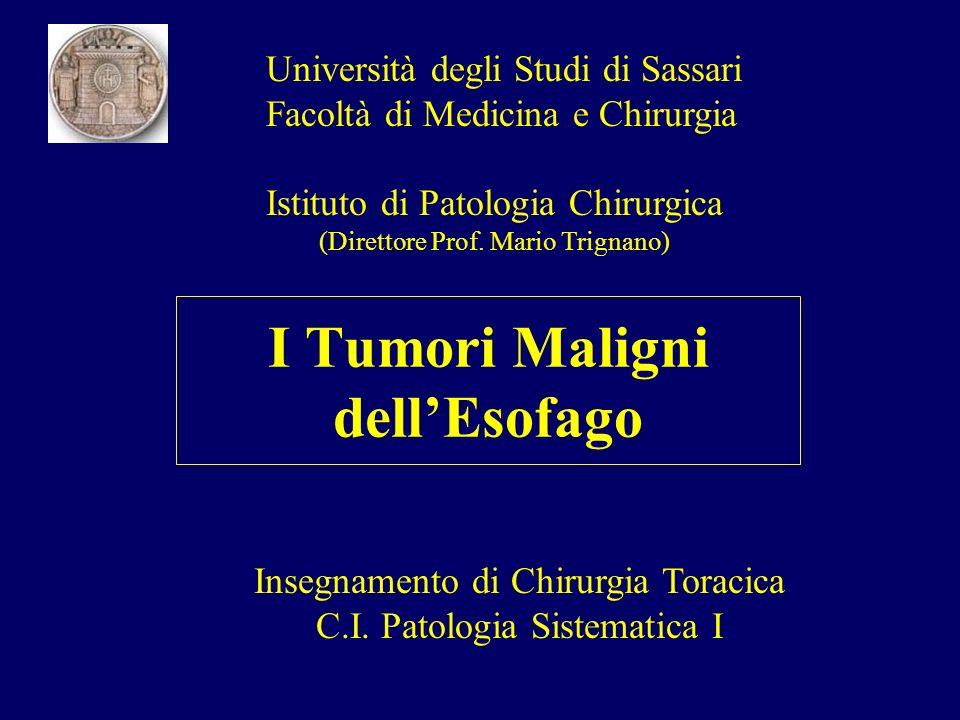 I Tumori Maligni dellEsofago Università degli Studi di Sassari Facoltà di Medicina e Chirurgia Istituto di Patologia Chirurgica (Direttore Prof. Mario