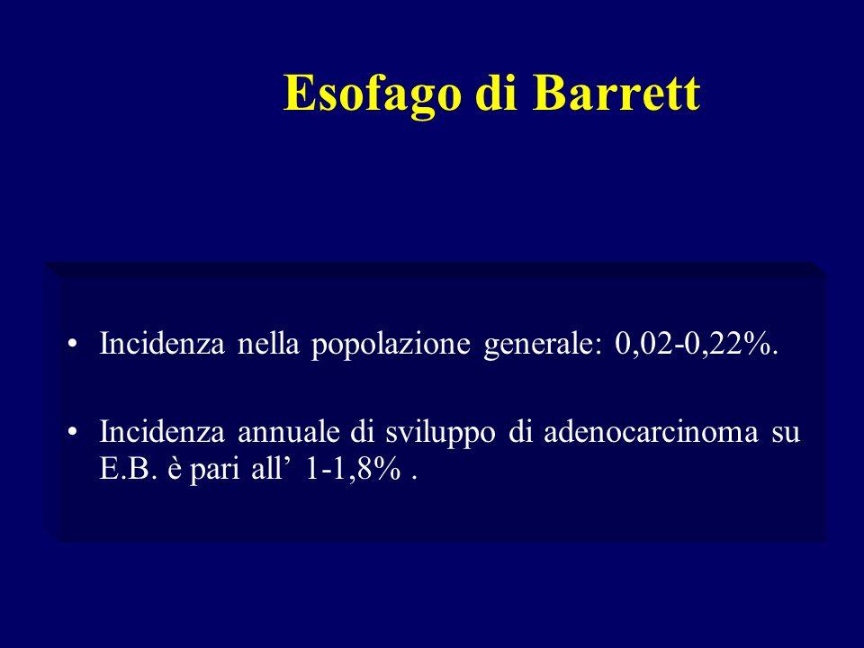Incidenza nella popolazione generale: 0,02-0,22%. Incidenza annuale di sviluppo di adenocarcinoma su E.B. è pari all 1-1,8%.