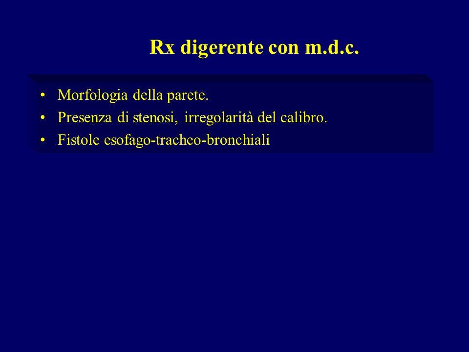 Morfologia della parete. Presenza di stenosi, irregolarità del calibro. Fistole esofago-tracheo-bronchiali Rx digerente con m.d.c.