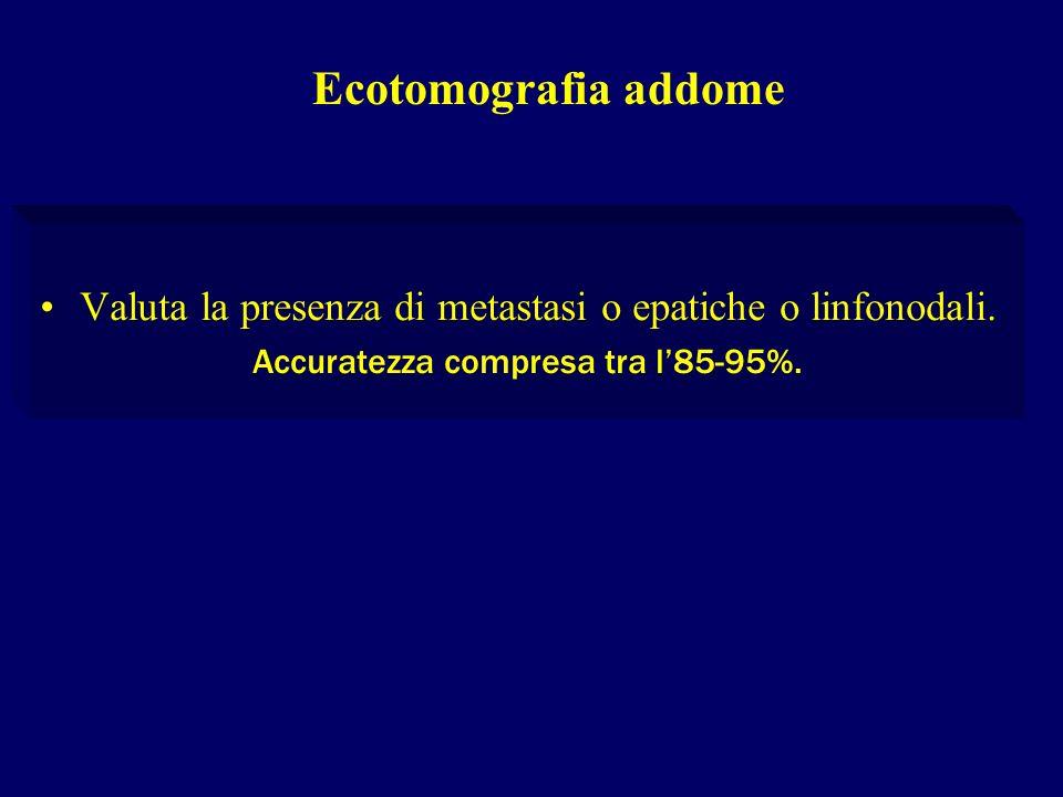 Valuta la presenza di metastasi o epatiche o linfonodali. Accuratezza compresa tra l85-95%. Ecotomografia addome