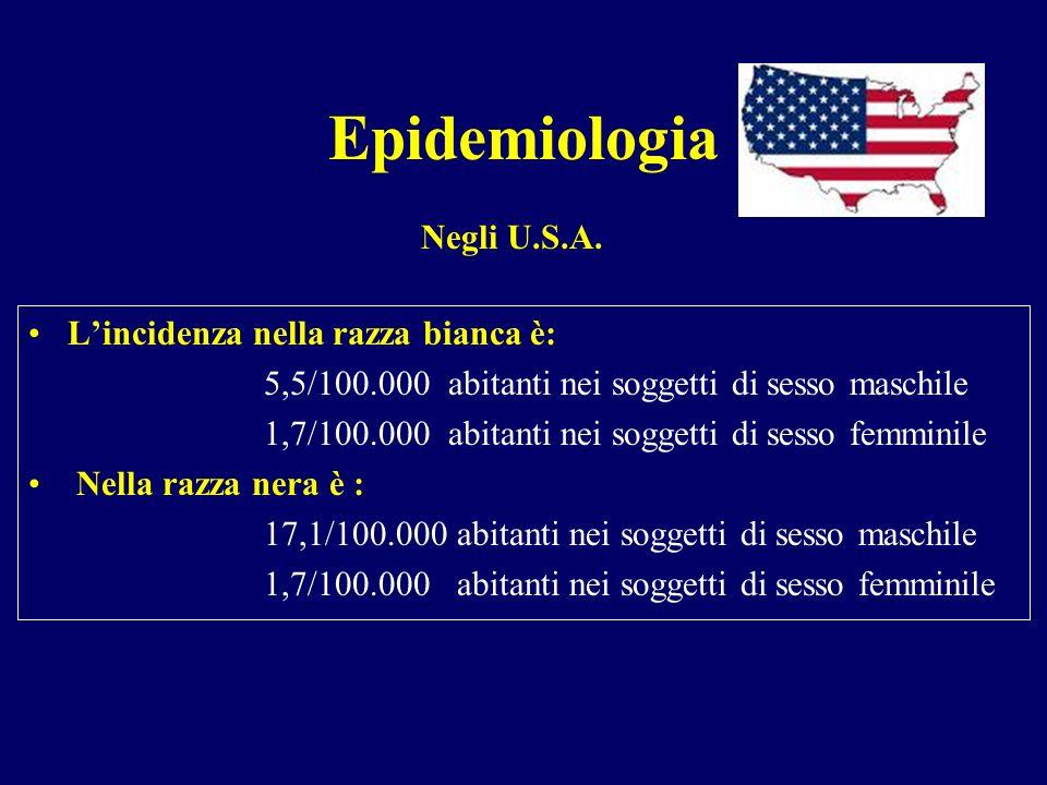Epidemiologia Lincidenza nella razza bianca è: 5,5/100.000 abitanti nei soggetti di sesso maschile 1,7/100.000 abitanti nei soggetti di sesso femminil
