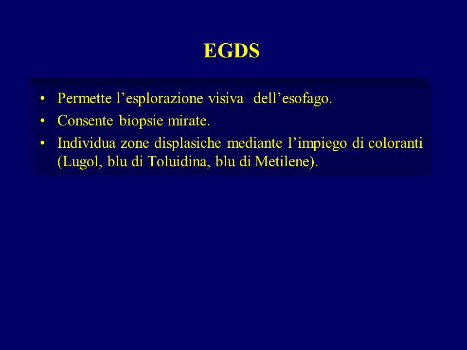 Permette lesplorazione visiva dellesofago. Consente biopsie mirate. Individua zone displasiche mediante limpiego di coloranti (Lugol, blu di Toluidina
