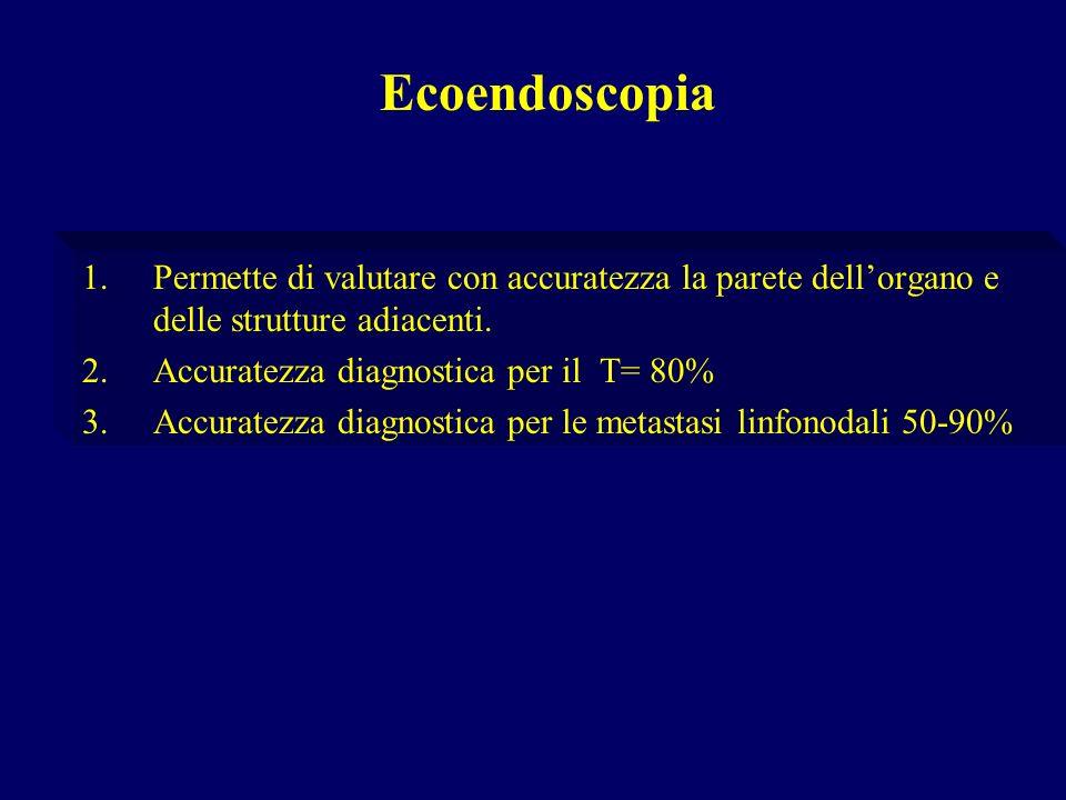 1.Permette di valutare con accuratezza la parete dellorgano e delle strutture adiacenti. 2.Accuratezza diagnostica per il T= 80% 3.Accuratezza diagnos