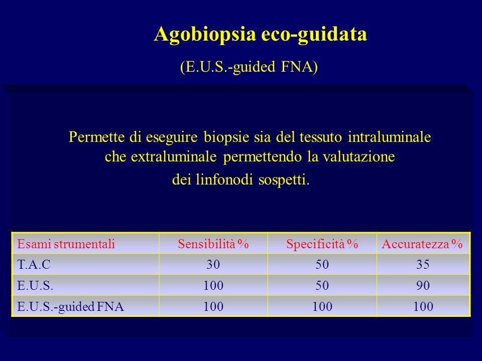 Agobiopsia eco-guidata (E.U.S.-guided FNA) Permette di eseguire biopsie sia del tessuto intraluminale che extraluminale permettendo la valutazione dei