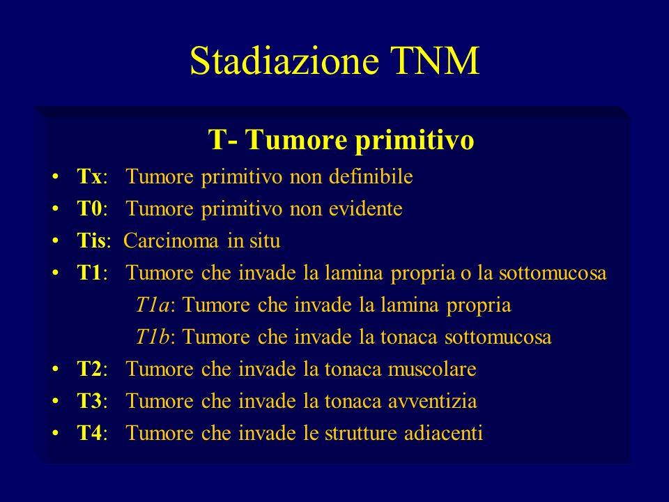 Stadiazione TNM T- Tumore primitivo Tx: Tumore primitivo non definibile T0: Tumore primitivo non evidente Tis: Carcinoma in situ T1: Tumore che invade