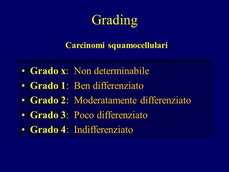 Grading Grado x: Non determinabile Grado 1: Ben differenziato Grado 2: Moderatamente differenziato Grado 3: Poco differenziato Grado 4: Indifferenziat