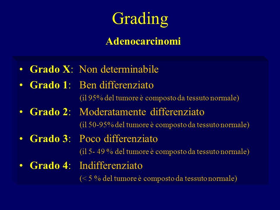 Grading Grado X: Non determinabile Grado 1: Ben differenziato (il 95% del tumore è composto da tessuto normale) Grado 2: Moderatamente differenziato (