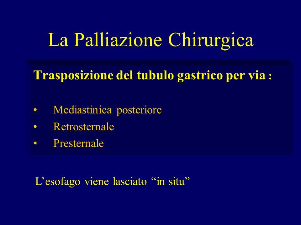 La Palliazione Chirurgica Trasposizione del tubulo gastrico per via : Mediastinica posteriore Retrosternale Presternale Lesofago viene lasciato in sit