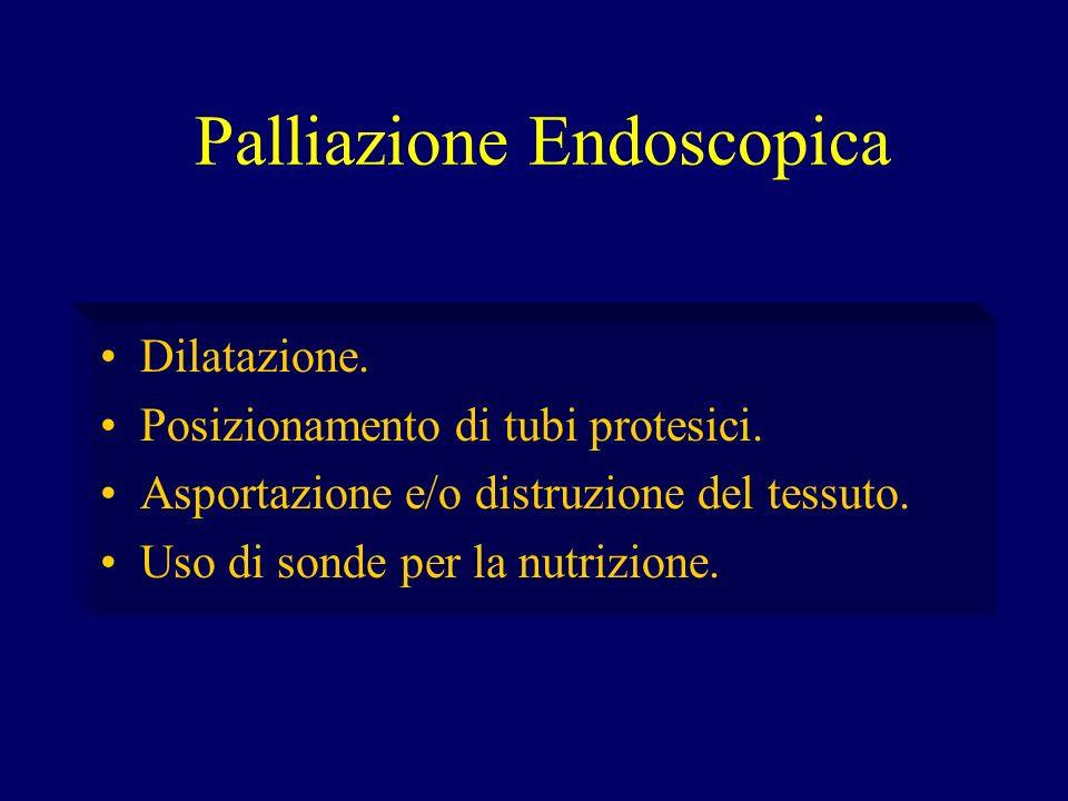 Palliazione Endoscopica Dilatazione. Posizionamento di tubi protesici. Asportazione e/o distruzione del tessuto. Uso di sonde per la nutrizione.