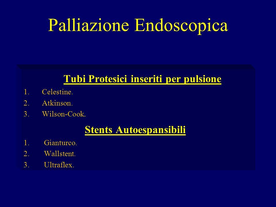 Palliazione Endoscopica Tubi Protesici inseriti per pulsione 1.Celestine. 2.Atkinson. 3.Wilson-Cook. Stents Autoespansibili 1. Gianturco. 2. Wallstent