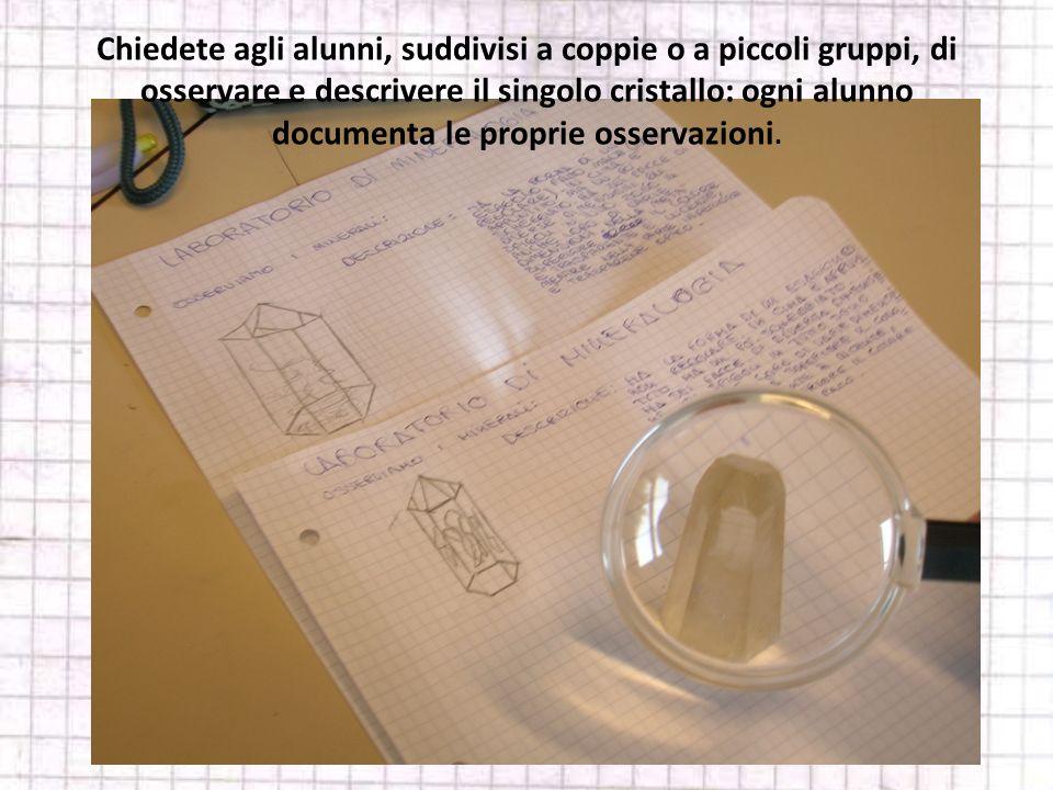 Chiedete agli alunni, suddivisi a coppie o a piccoli gruppi, di osservare e descrivere il singolo cristallo: ogni alunno documenta le proprie osservaz