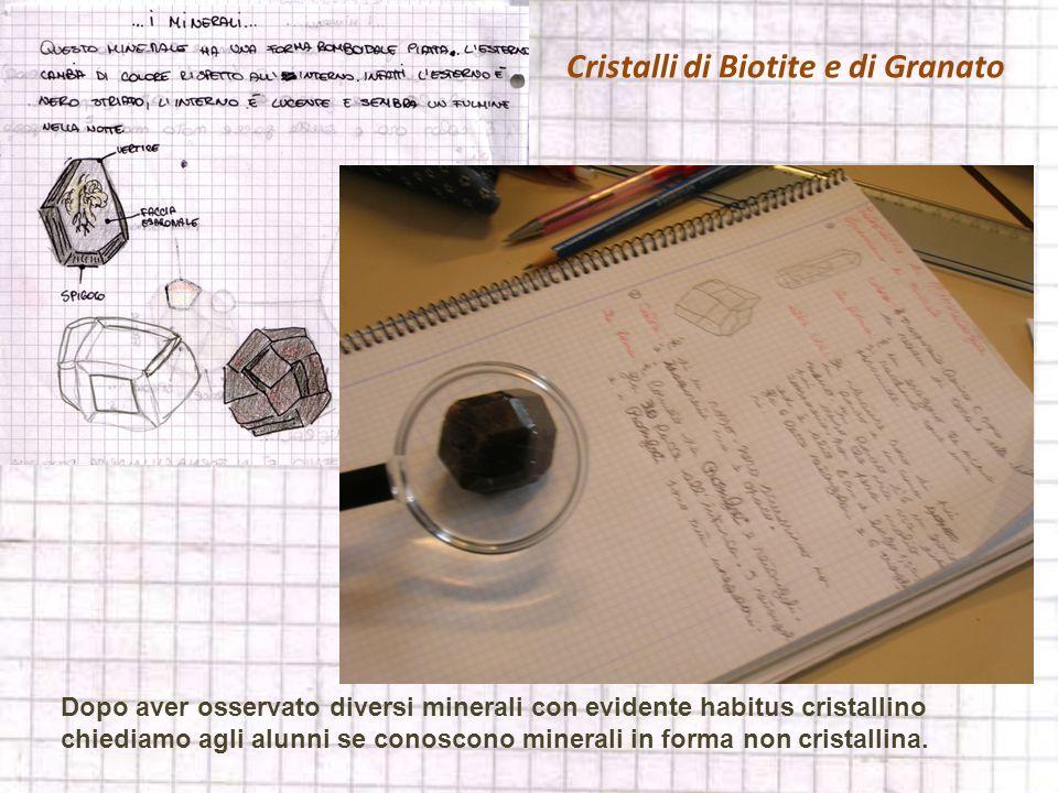 Cristalli di Biotite e di Granato Dopo aver osservato diversi minerali con evidente habitus cristallino chiediamo agli alunni se conoscono minerali in