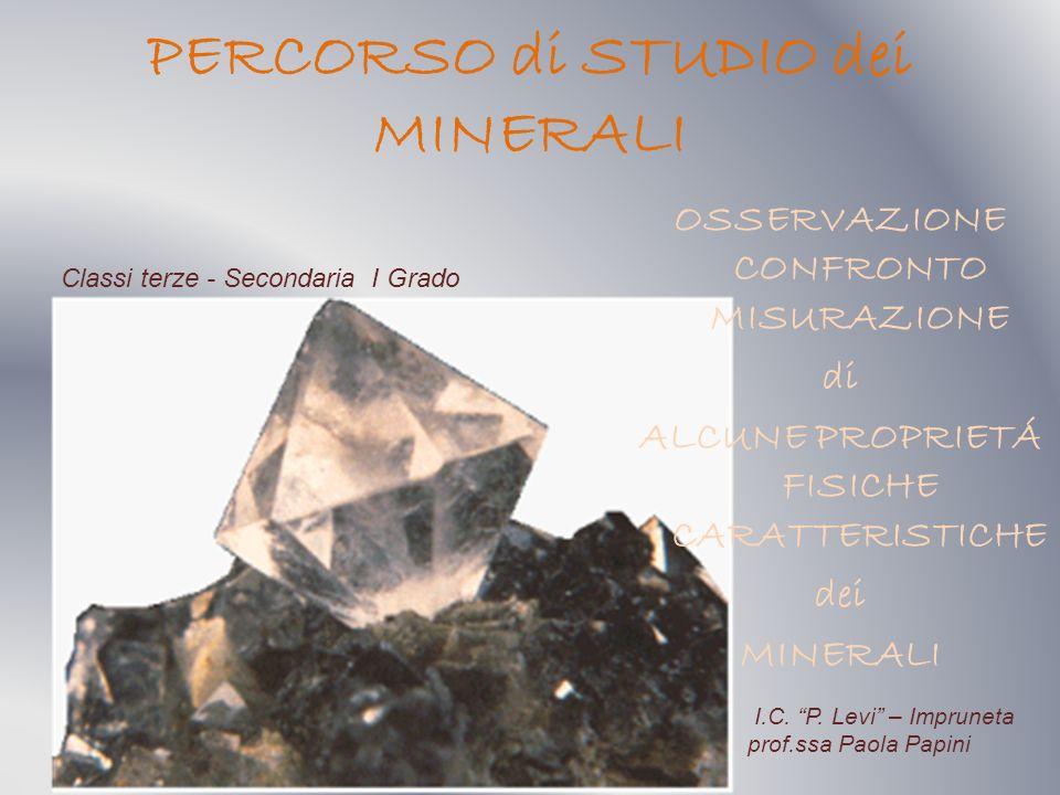 Vengono sottoposti allosservazione degli alunni cristalli di quarzo, pirite, granato, biotite, muscovite, calcite, zolfo, salgemma, fluorite.