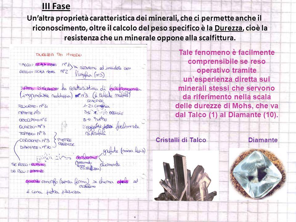 Unaltra proprietà caratteristica dei minerali, che ci permette anche il riconoscimento, oltre il calcolo del peso specifico è la Durezza, cioè la resi