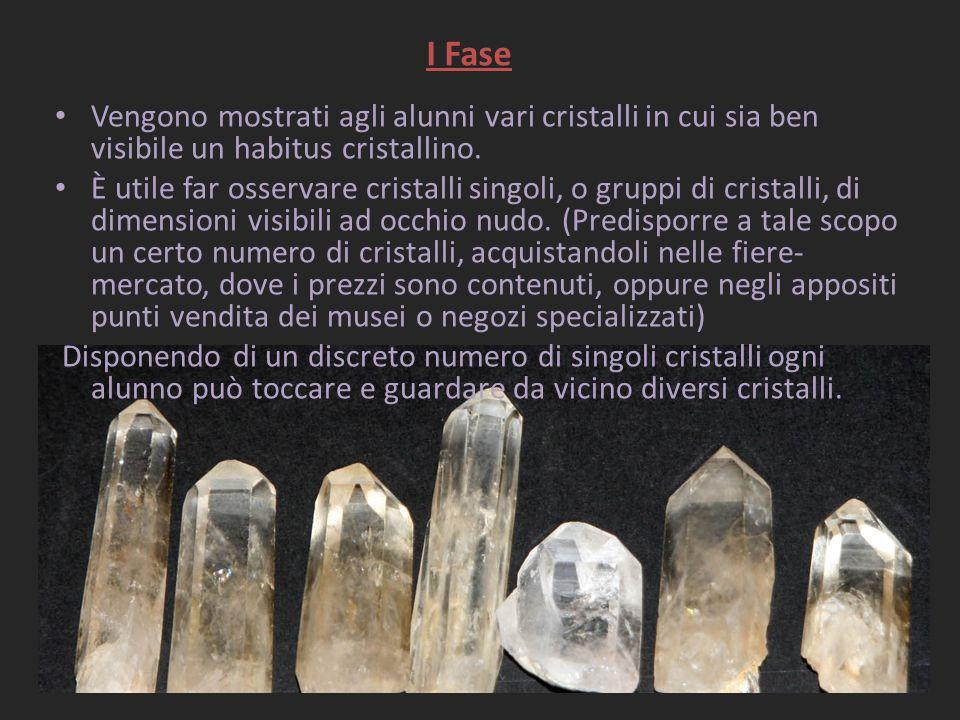 I Fase Vengono mostrati agli alunni vari cristalli in cui sia ben visibile un habitus cristallino. È utile far osservare cristalli singoli, o gruppi d