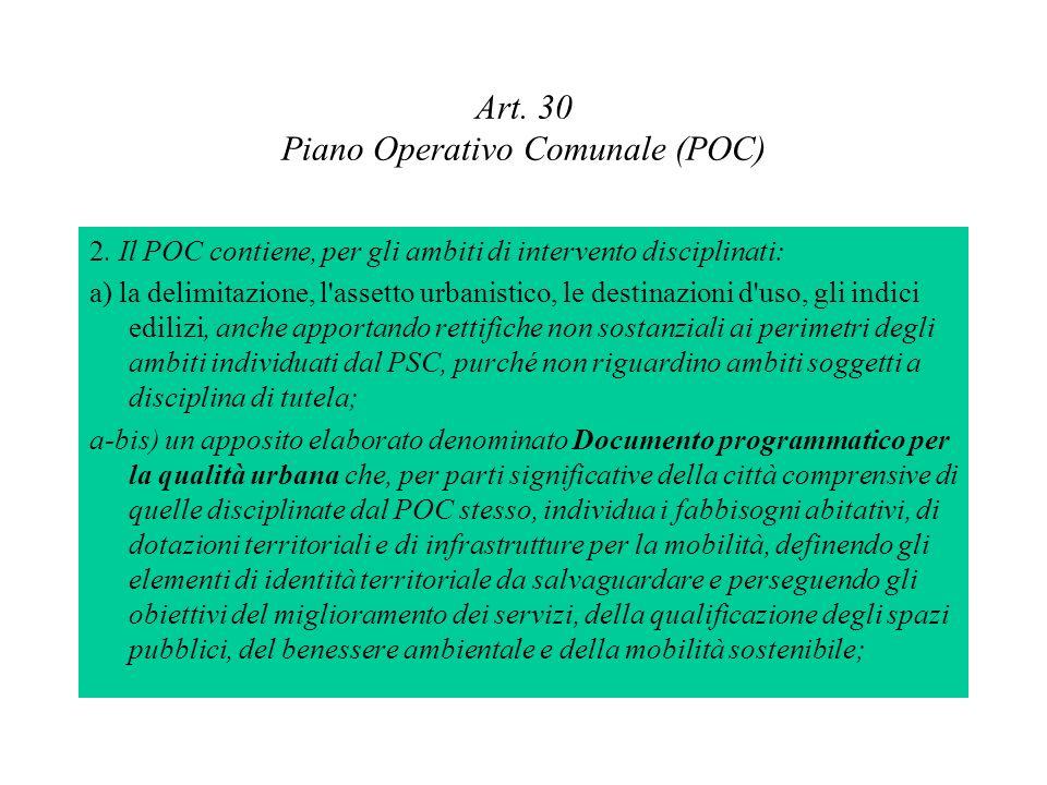Art. 30 Piano Operativo Comunale (POC) 2. Il POC contiene, per gli ambiti di intervento disciplinati: a) la delimitazione, l'assetto urbanistico, le d