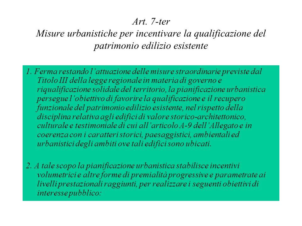 Art. 7-ter Misure urbanistiche per incentivare la qualificazione del patrimonio edilizio esistente 1. Ferma restando lattuazione delle misure straordi
