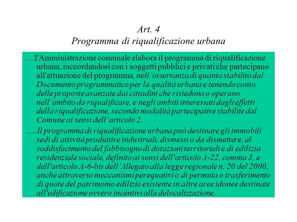 Art. 4 Programma di riqualificazione urbana …. l'Amministrazione comunale elabora il programma di riqualificazione urbana, raccordandosi con i soggett
