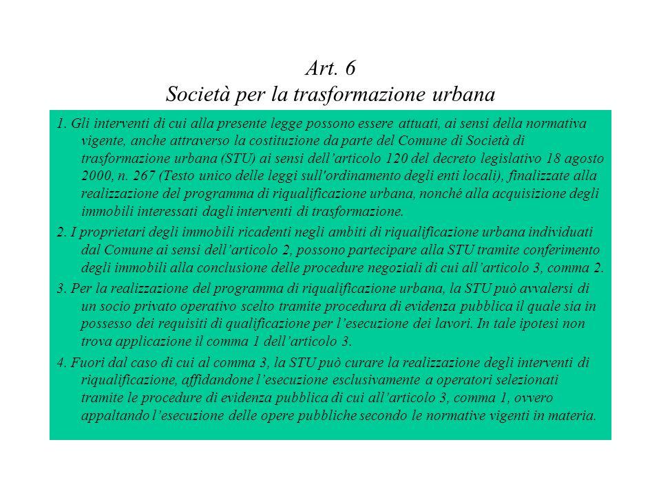 Art. 6 Società per la trasformazione urbana 1. Gli interventi di cui alla presente legge possono essere attuati, ai sensi della normativa vigente, anc