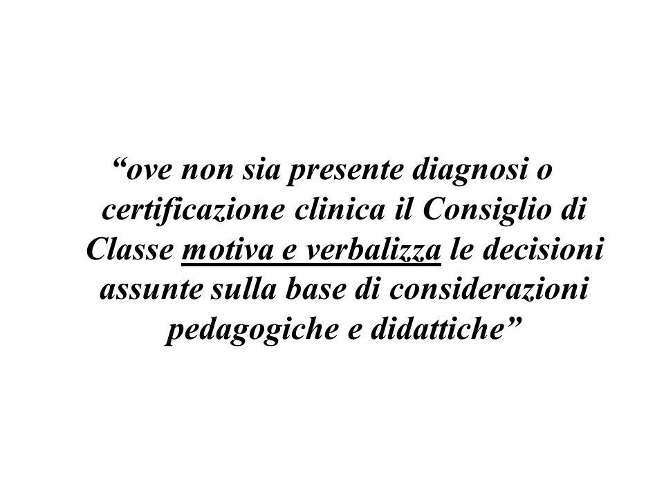 ove non sia presente diagnosi o certificazione clinica il Consiglio di Classe motiva e verbalizza le decisioni assunte sulla base di considerazioni pe