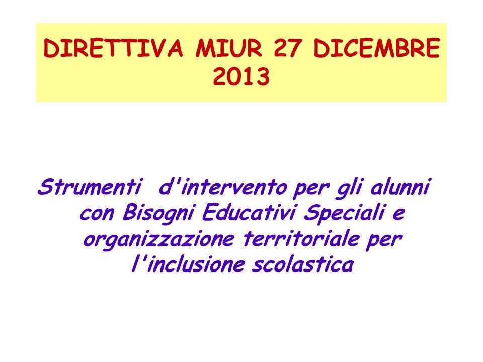 DIRETTIVA MIUR 27 DICEMBRE 2013 Strumenti d'intervento per gli alunni con Bisogni Educativi Speciali e organizzazione territoriale per l'inclusione sc