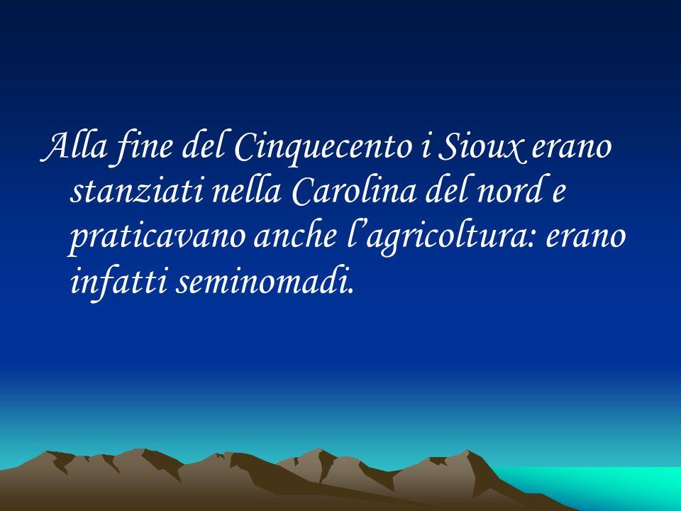 Alla fine del Cinquecento i Sioux erano stanziati nella Carolina del nord e praticavano anche lagricoltura: erano infatti seminomadi.