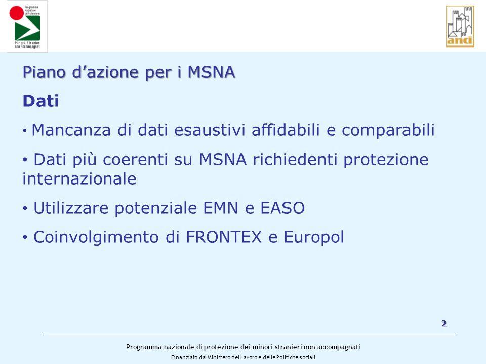 Programma nazionale di protezione dei minori stranieri non accompagnati Finanziato dal Ministero del Lavoro e delle Politiche sociali 2 Piano dazione