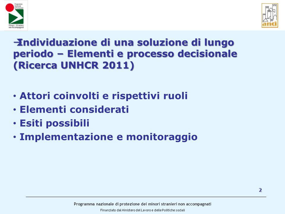 Programma nazionale di protezione dei minori stranieri non accompagnati Finanziato dal Ministero del Lavoro e delle Politiche sociali 2 Individuazione