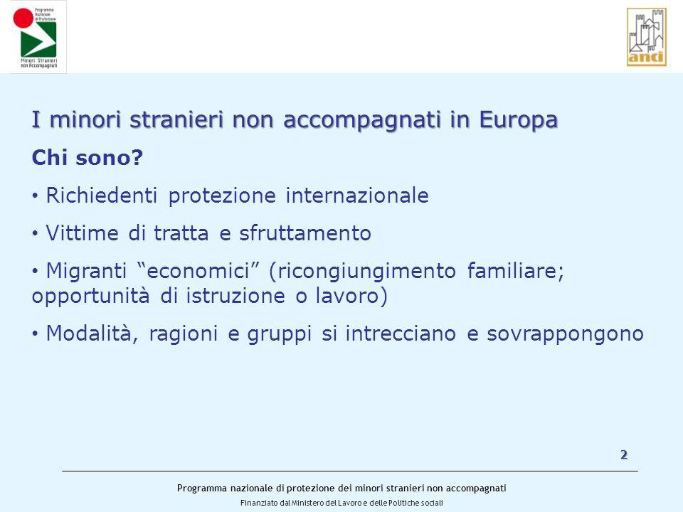 Programma nazionale di protezione dei minori stranieri non accompagnati Finanziato dal Ministero del Lavoro e delle Politiche sociali 2 I minori stranieri non accompagnati in Europa Quanti sono.