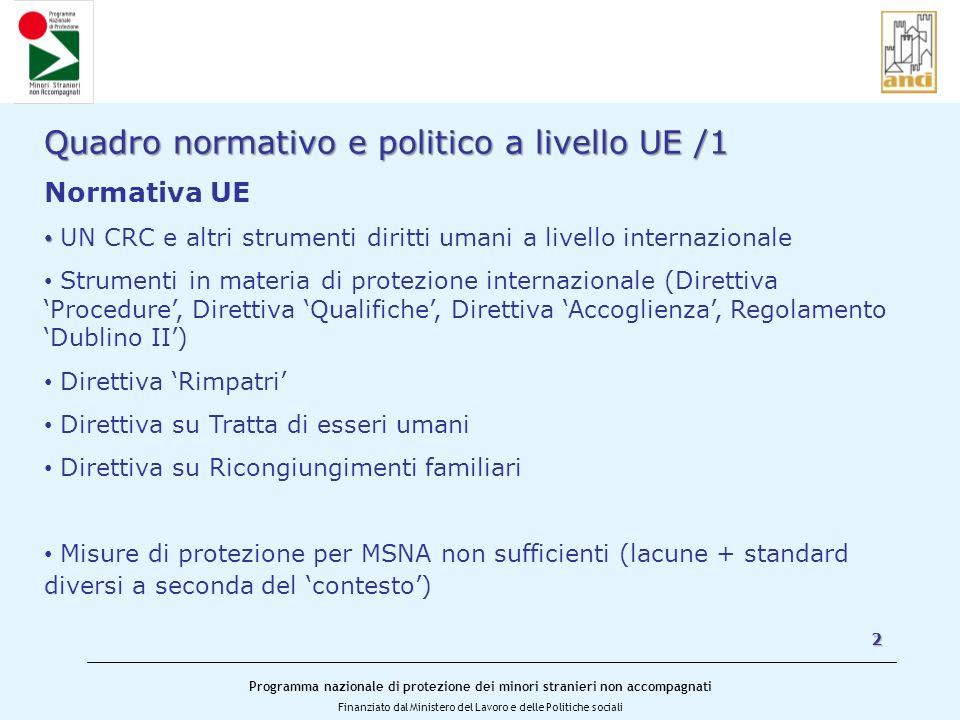 Programma nazionale di protezione dei minori stranieri non accompagnati Finanziato dal Ministero del Lavoro e delle Politiche sociali 2 Quadro normati