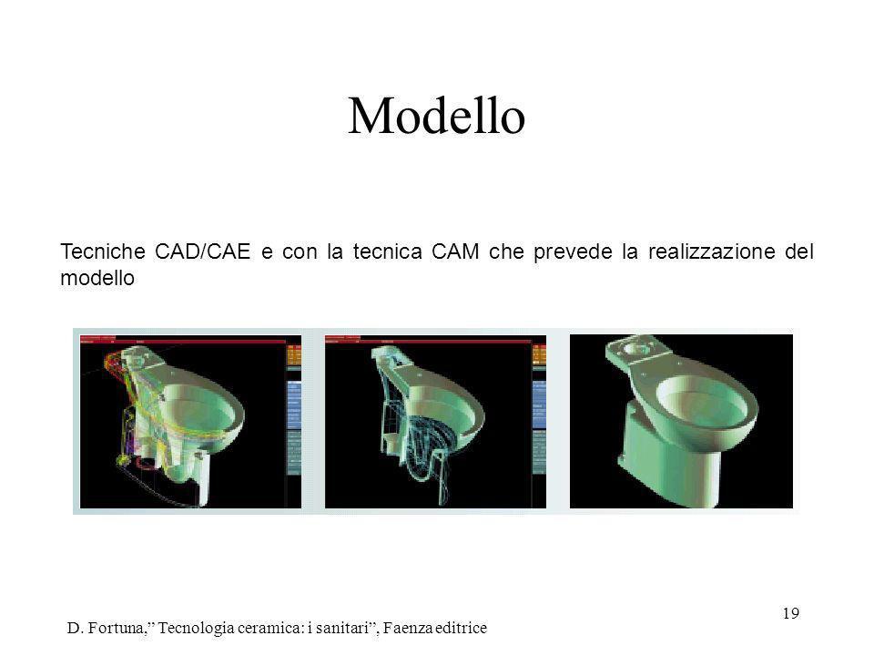 19 Modello D. Fortuna, Tecnologia ceramica: i sanitari, Faenza editrice Tecniche CAD/CAE e con la tecnica CAM che prevede la realizzazione del modello