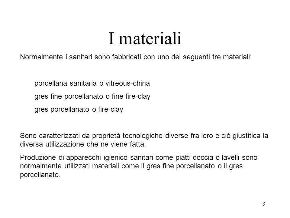 3 I materiali Normalmente i sanitari sono fabbricati con uno dei seguenti tre materiali: porcellana sanitaria o vitreous-china gres fine porcellanato